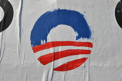 Detail of Painted O for Obama Again at N6th & Wythe poster