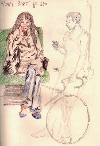 Train sketches of girl and guy with bike