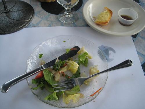 salad and garlic bread