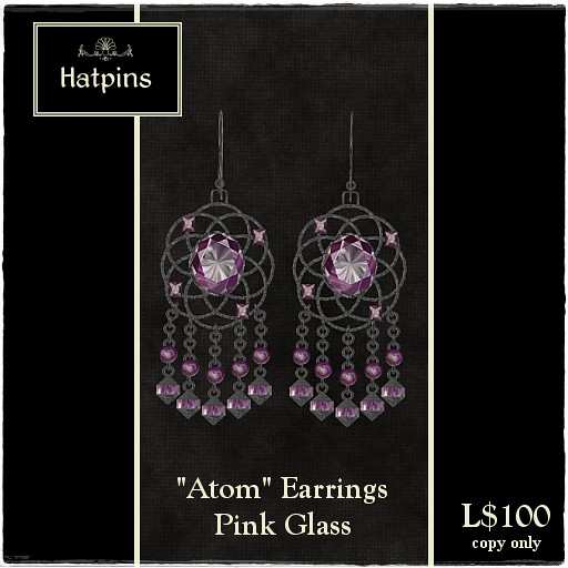 Atom Earrings - Pink Glass