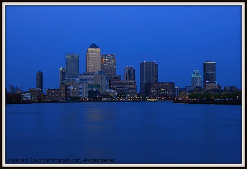 London , The Canary Wharf Blue Hour by Dolwolfian