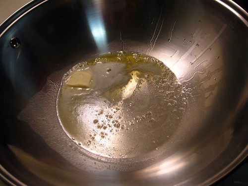 Butter and Olive Oil Heating Up in Wok-Like Pan...