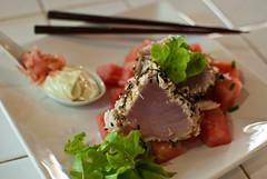 Seared tuna and watermelon salad