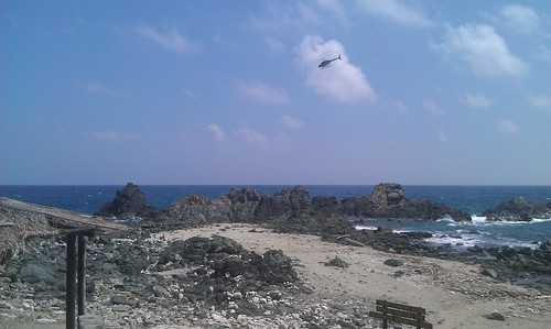 Police helicopter near Natural Pool