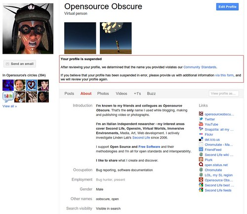 """My Google+ Profile is still suspended: now Google says """"it represents a business"""""""