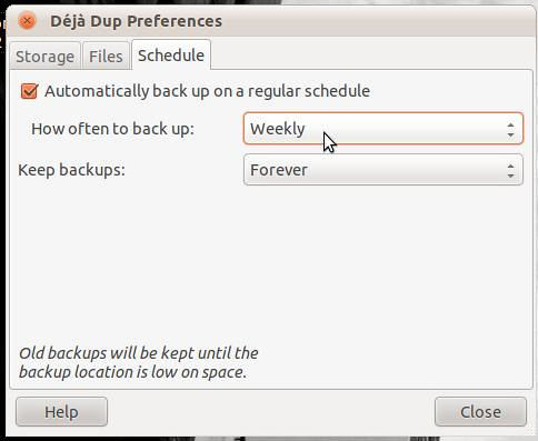 Deja Dup Preferences Schedule