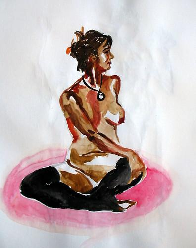 Watercolor of nude woman seated cross-legged