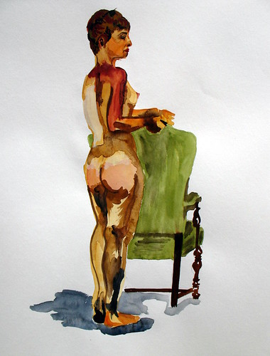 Watercolor of a standing nude woman with a green chair