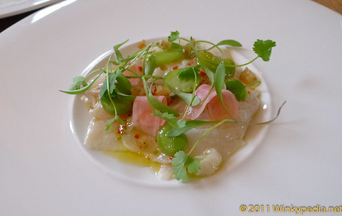 Stone bass ceviche & broad beans at Corner Room, London