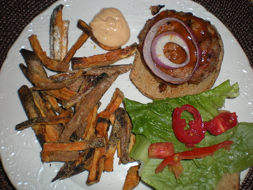 Caroline BBQ Turkey Burger w/ Sweet Potato Fries