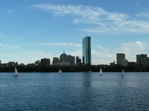 Sailboats and a windsurfer on the Charles River Boston