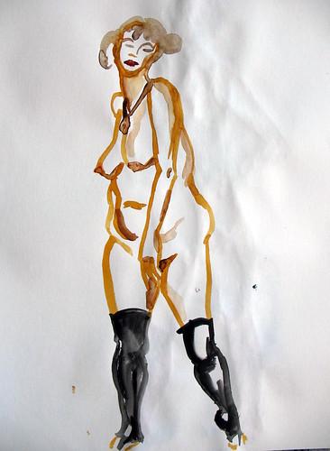 Watercolor sketch of standing nude woman