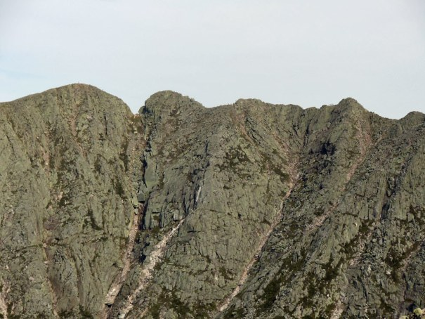 The view of Katahdin's Knife Edge from the Cathedral Trail.