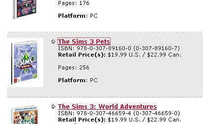 Prima Listing Confirms Sims 3 Pets Guide Price