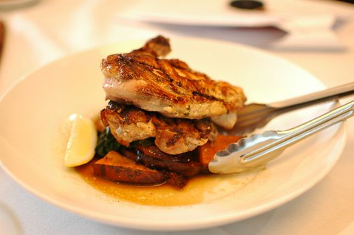 Chicken with maple roasted sweet potato and spinach