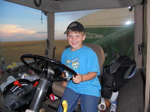 Ezra in tractor