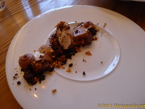 Dark chocolate with peanut butter ice-cream at the Corner Room, London