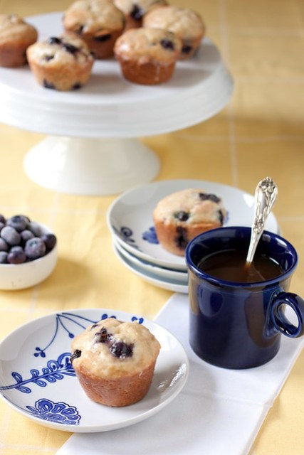 Lemon-glazed Blueberry Donut Muffins
