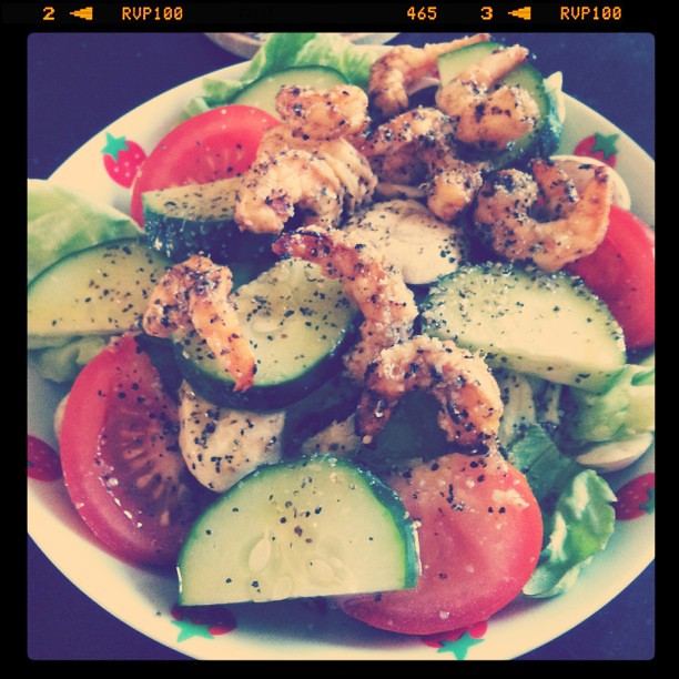 Shrimp salad for dinner! Yum!!