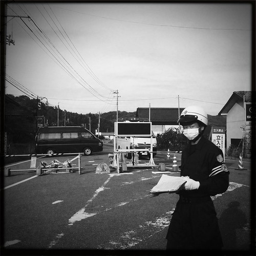 Officer at roadblock at 20km line