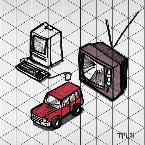Example of Sketch In Isometric Projection (Mac, Land Rover, Old TV)