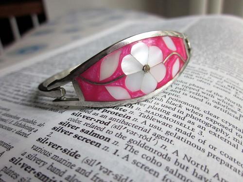 silver pink bangle