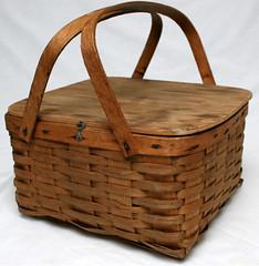 Vintage Oak Picnic Basket
