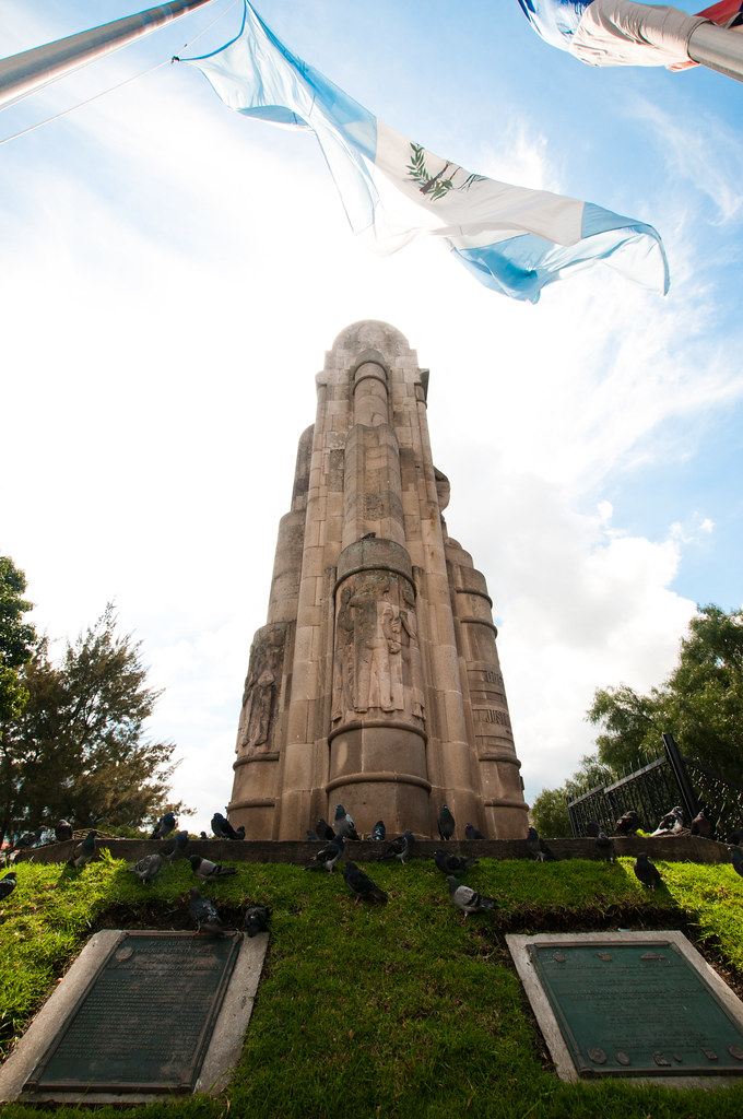 Monument and flag in Xela, Guatemala