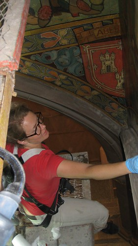Cleaning the Processional Frieze - View onto the Scaffolding