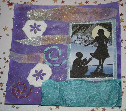 """Hula Moon 4"""" x 4"""" Collage Card"""