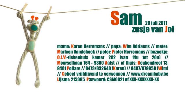 kaartje SAM