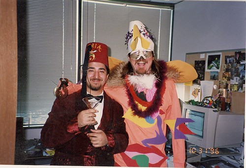 Kevin Goldsmith and Doug Sharp in Doug's MSFT office celebrating Halloween