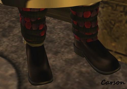 _b[ELLE] - Warm Boots - Argyle Brown