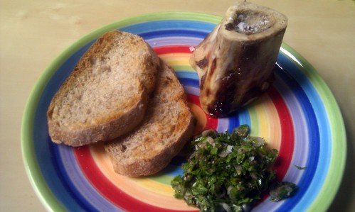 St John's roasted bone marrow on toast with parsley salad