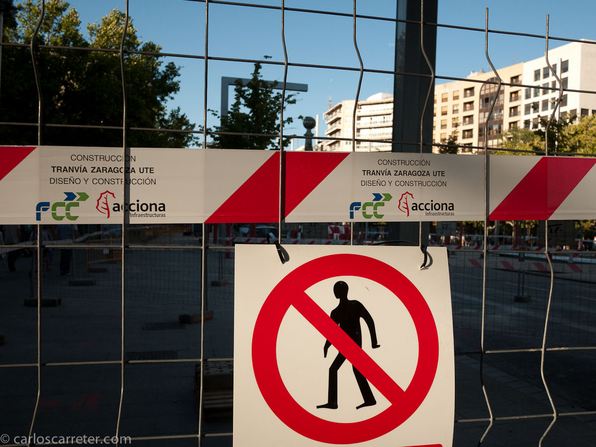 Obras del tranvía - Plaza de Aragón