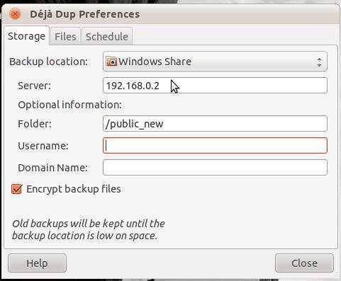 Deja Dup Preferences Location