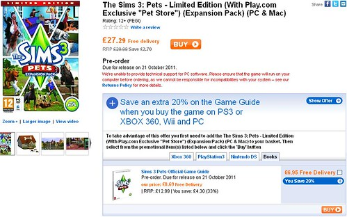 The Sims 3 Pets Limited Edition and Play