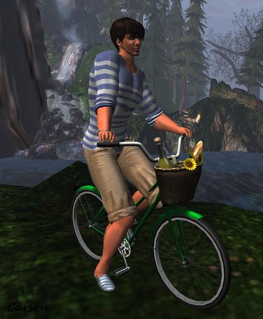 NSD Sailors Top & Tour Boas Shorts   --  Fir & Mina - Twine Shoes   --  What Next Summertime Bicycle Pose Prop