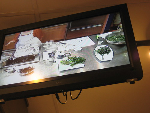 cooking class on tv screen