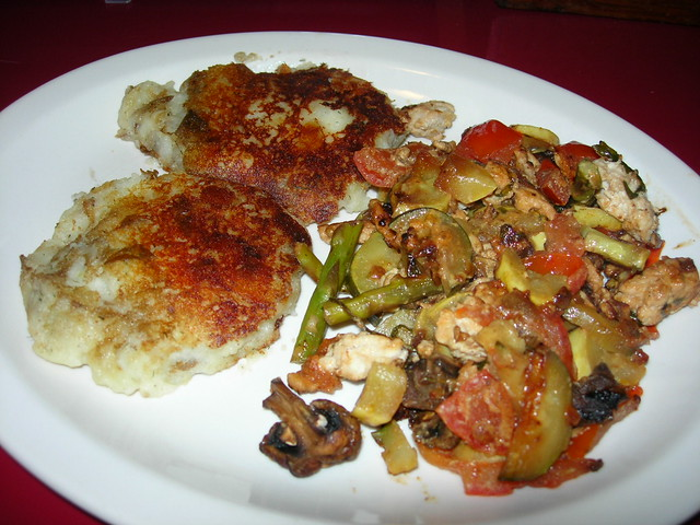 Potato Patty with Turkey/Veggie Saute