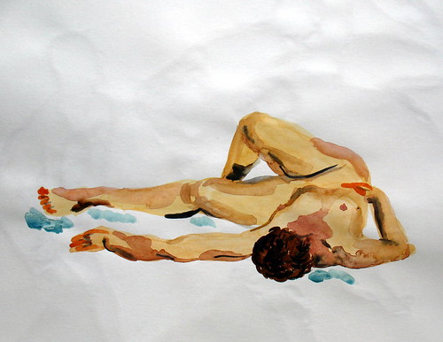 Watercolor of a nude woman lying down