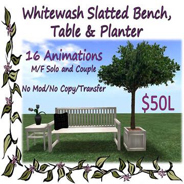 Whitewashed Slatted Bench Set, Finishing Touches, 50L$