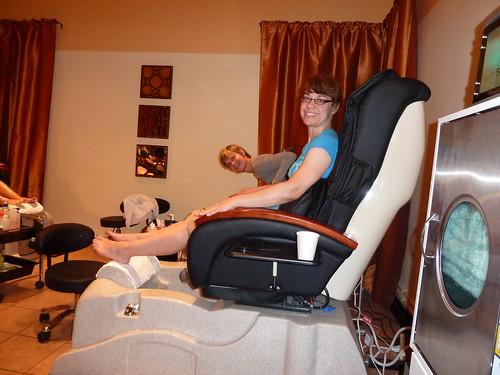 Enjoying the massage chairs