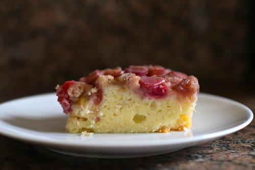 slice of rhubarb upside-down cake