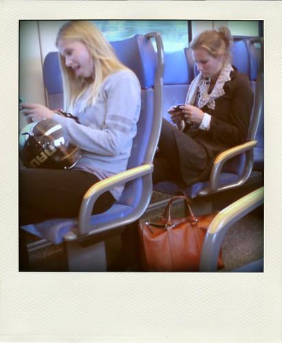 in de trein.