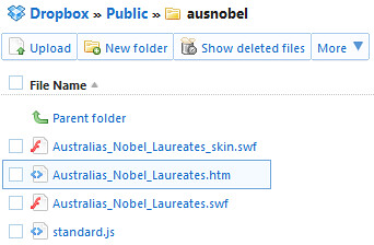 My learning object files on Dropbox