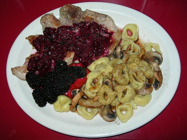 Pork Steak with Blackberry Sauce, Tortellini and Mushrooms with Lemon Brown Butter