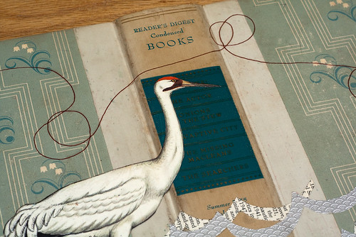 Upcycled Collage: Crane & book cover - detail