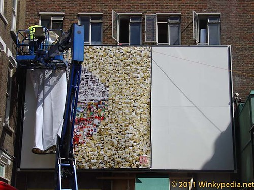 Setting the mural up in Horse and Dolphin Yard, London Chinatown