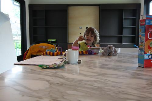 Hudson's first breakfast in new kitchen